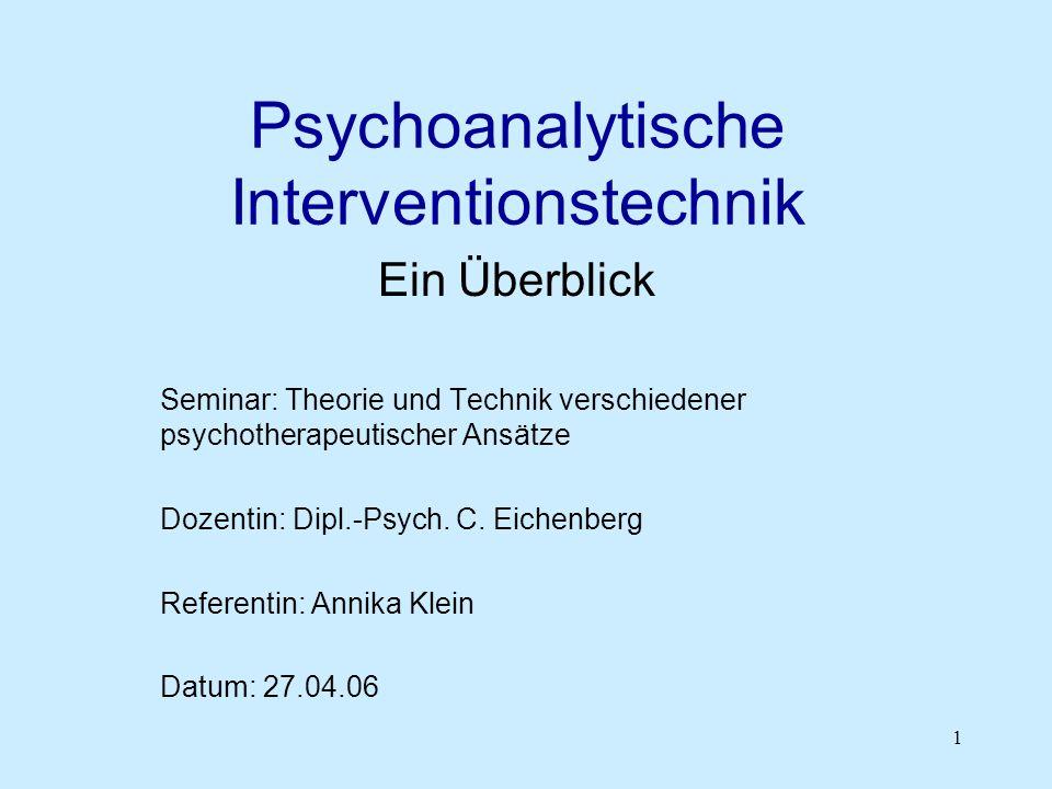 Psychoanalytische Interventionstechnik