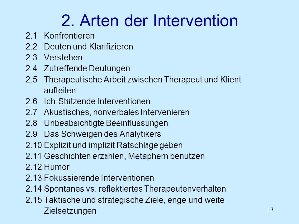 2. Arten der Intervention