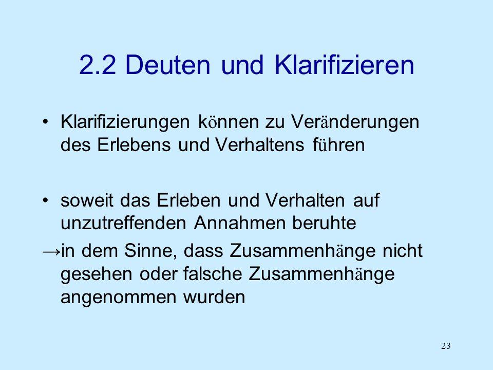 2.2 Deuten und Klarifizieren