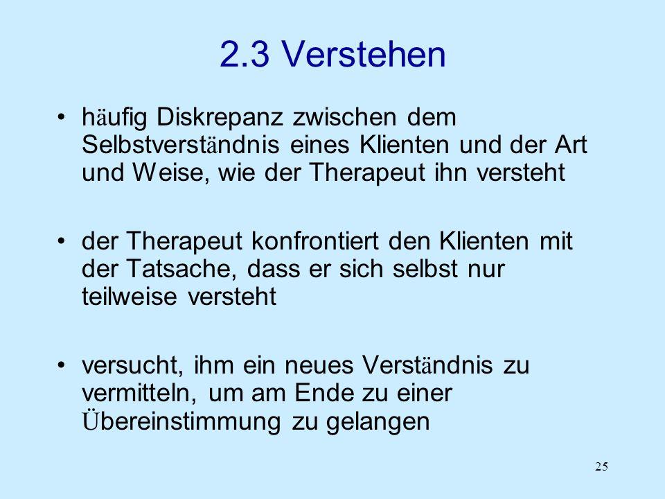 2.3 Verstehen häufig Diskrepanz zwischen dem Selbstverständnis eines Klienten und der Art und Weise, wie der Therapeut ihn versteht.
