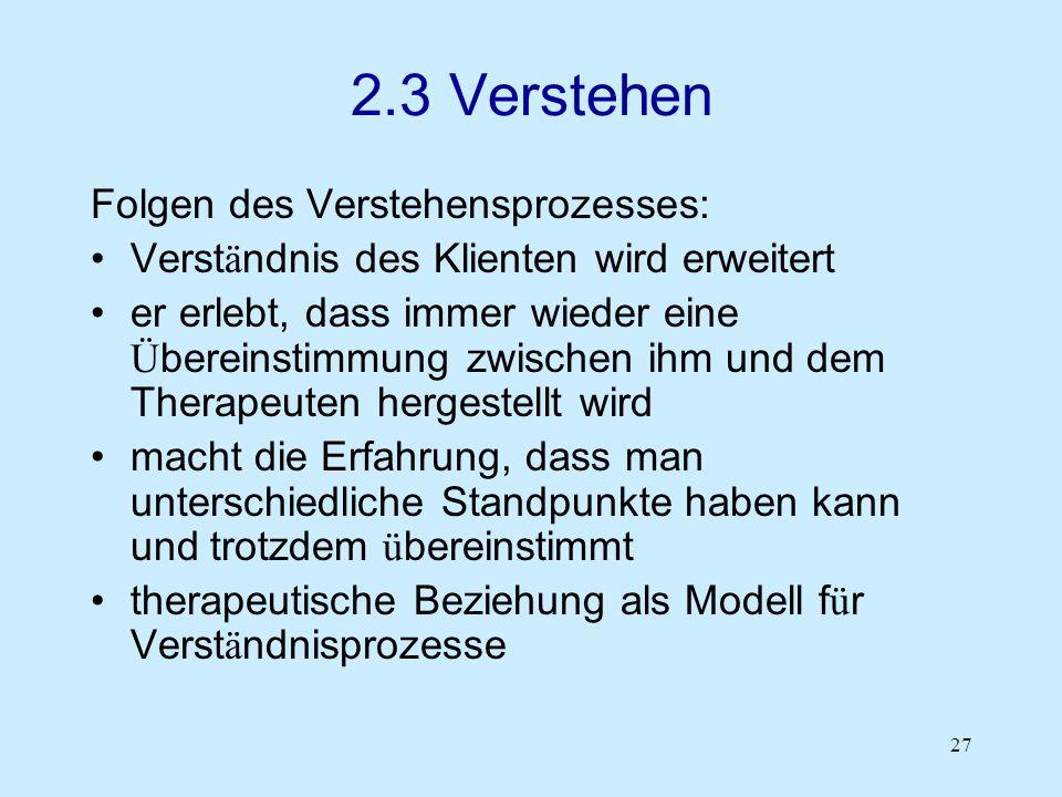 2.3 Verstehen Folgen des Verstehensprozesses: