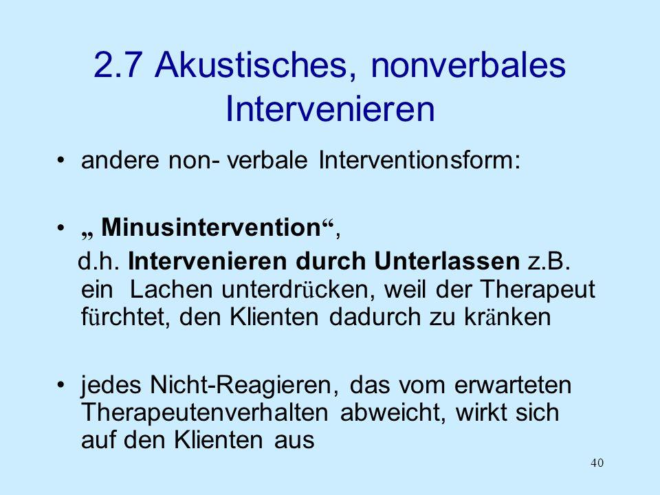 2.7 Akustisches, nonverbales Intervenieren