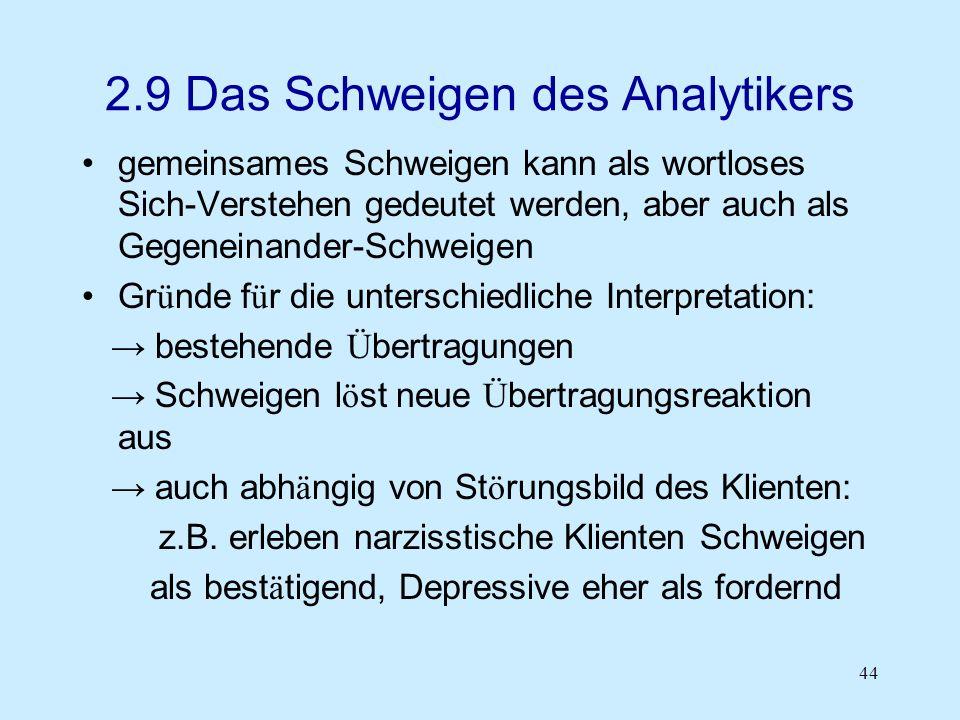 2.9 Das Schweigen des Analytikers