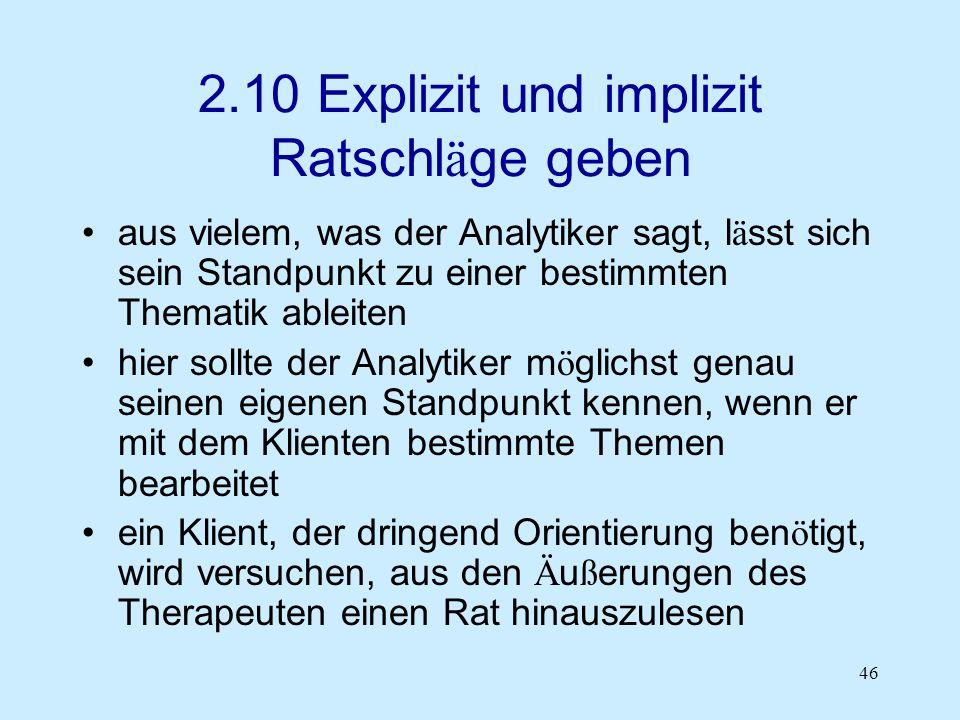 2.10 Explizit und implizit Ratschläge geben