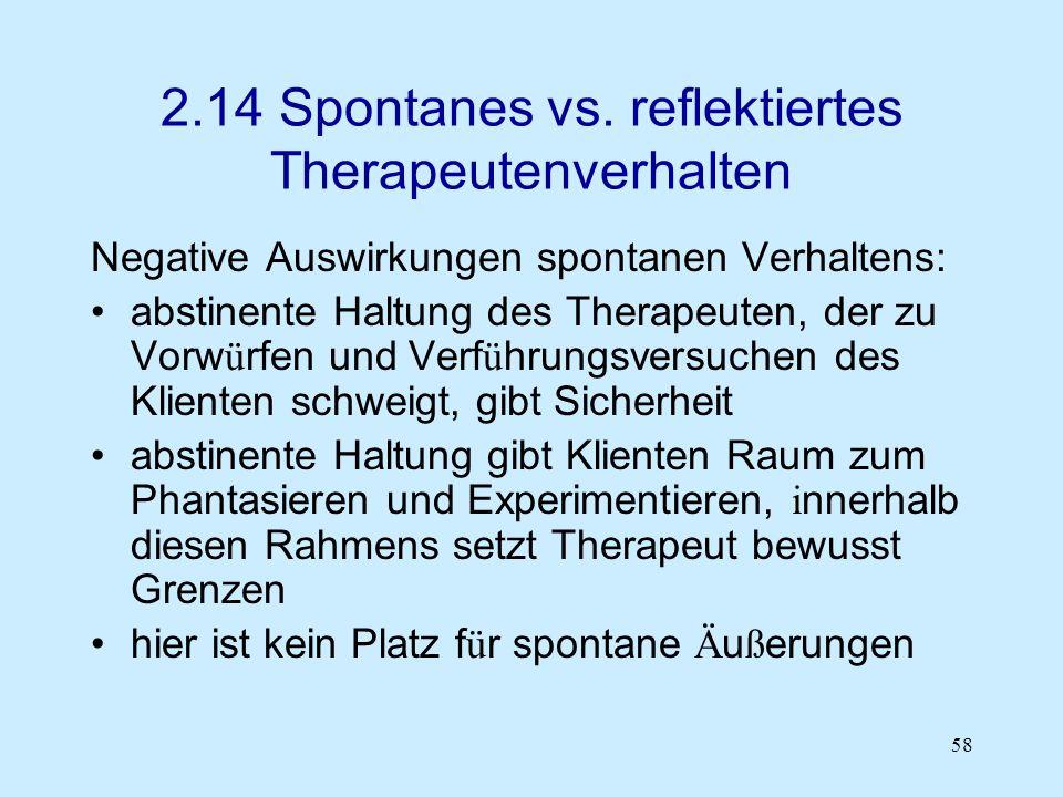 2.14 Spontanes vs. reflektiertes Therapeutenverhalten