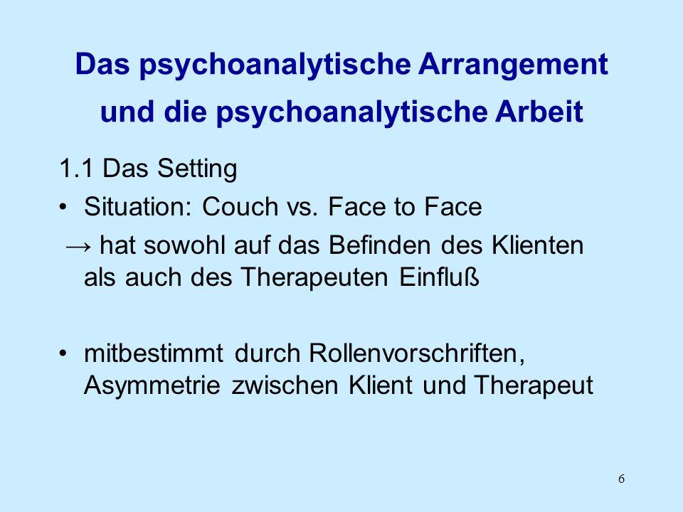 Das psychoanalytische Arrangement und die psychoanalytische Arbeit