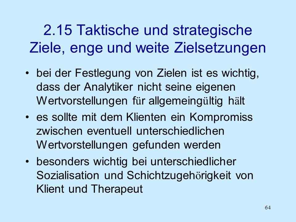 2.15 Taktische und strategische Ziele, enge und weite Zielsetzungen