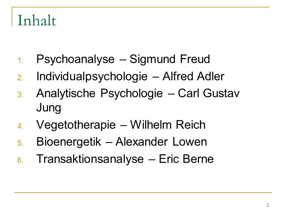 Inhalt Psychoanalyse – Sigmund Freud