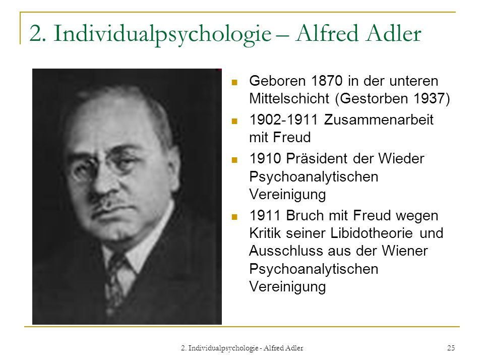 2. Individualpsychologie – Alfred Adler