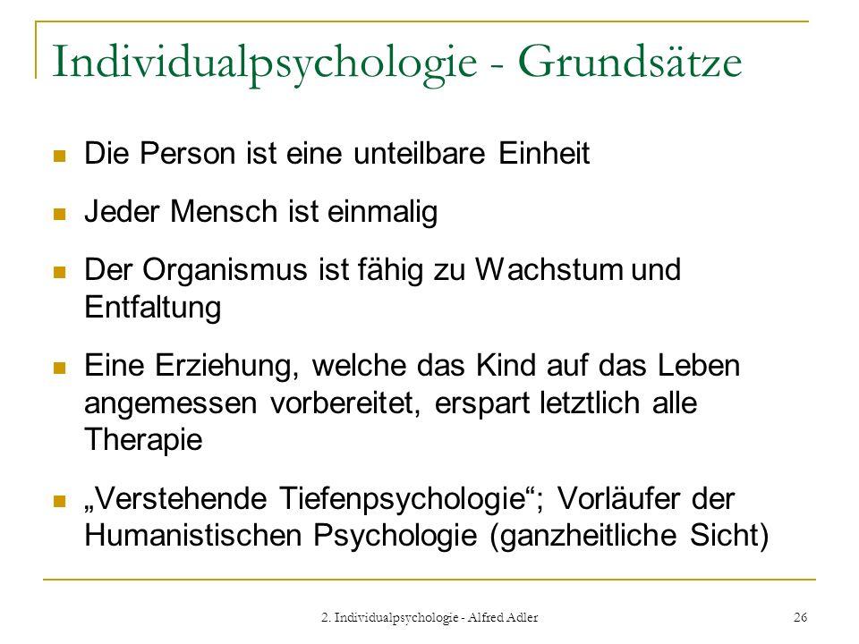 Individualpsychologie - Grundsätze