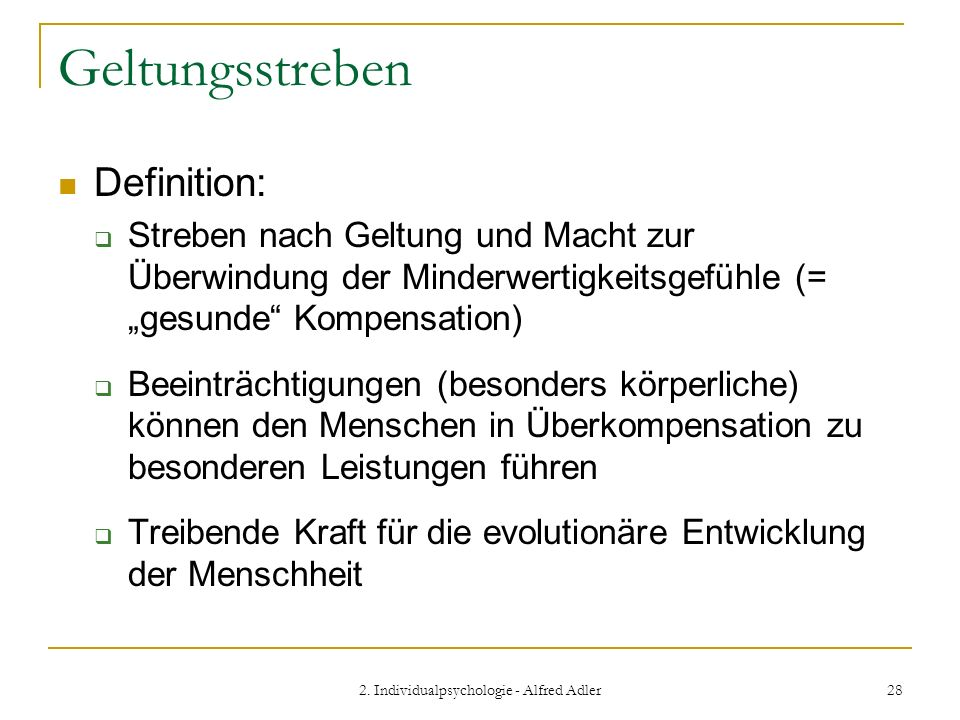 2. Individualpsychologie - Alfred Adler
