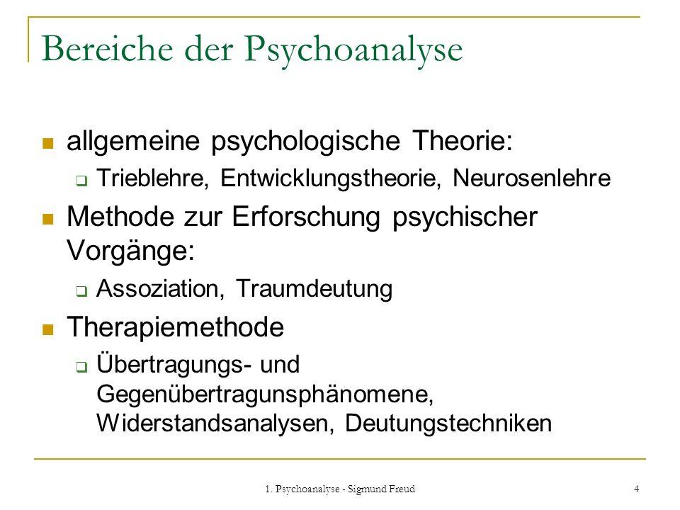 Bereiche der Psychoanalyse