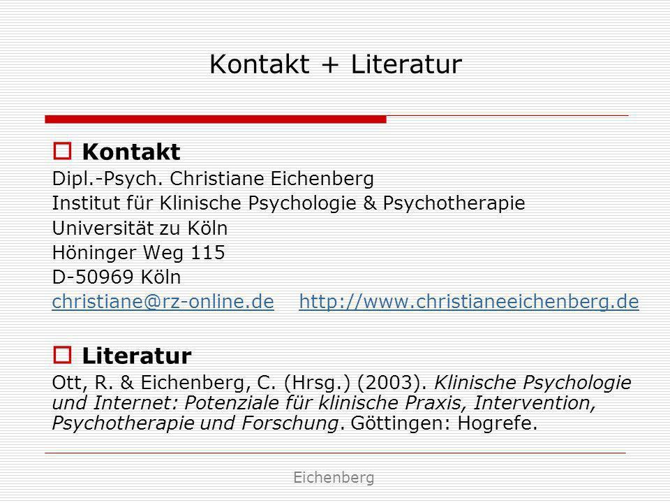 Kontakt + Literatur Kontakt Literatur