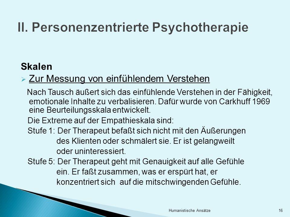 II. Personenzentrierte Psychotherapie