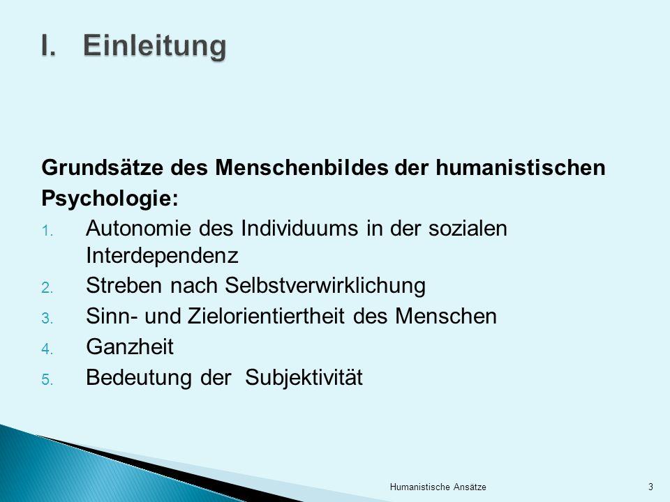 Einleitung Grundsätze des Menschenbildes der humanistischen