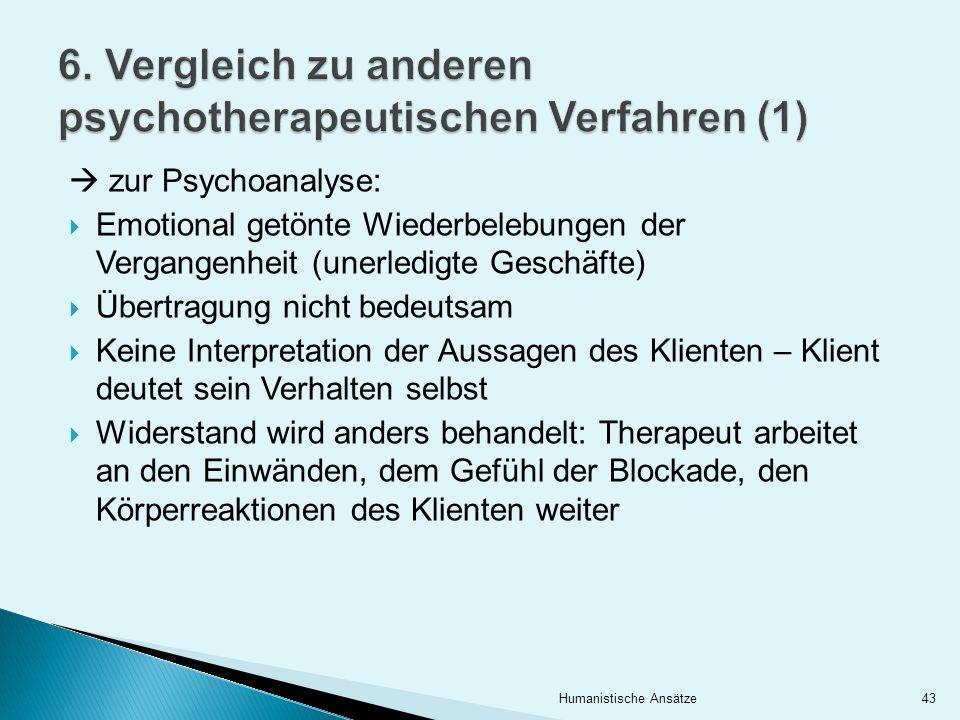 6. Vergleich zu anderen psychotherapeutischen Verfahren (1)