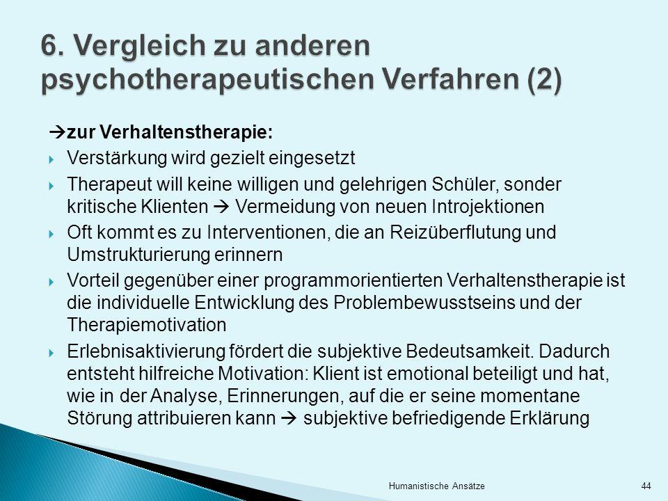 6. Vergleich zu anderen psychotherapeutischen Verfahren (2)