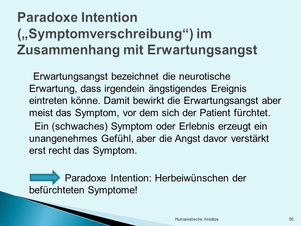 """Paradoxe Intention (""""Symptomverschreibung ) im Zusammenhang mit Erwartungsangst"""