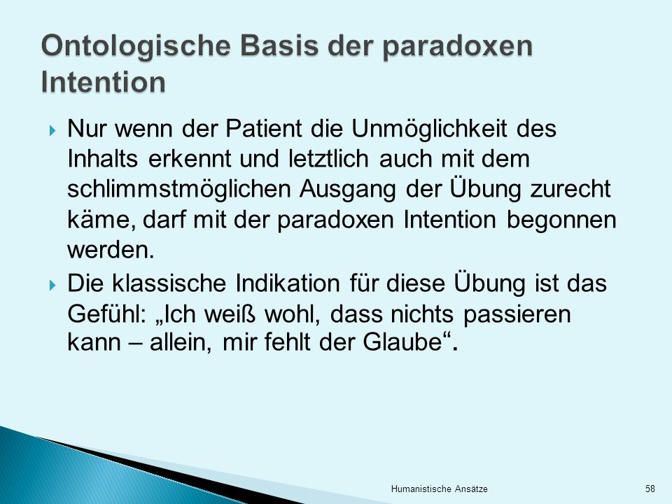 Ontologische Basis der paradoxen Intention
