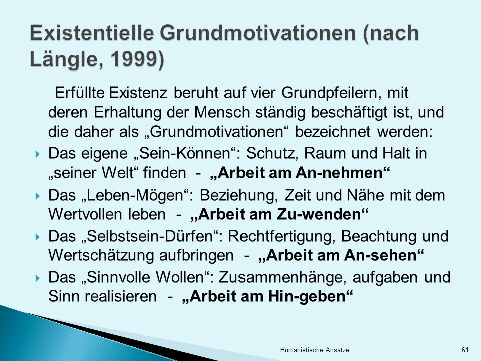 Existentielle Grundmotivationen (nach Längle, 1999)