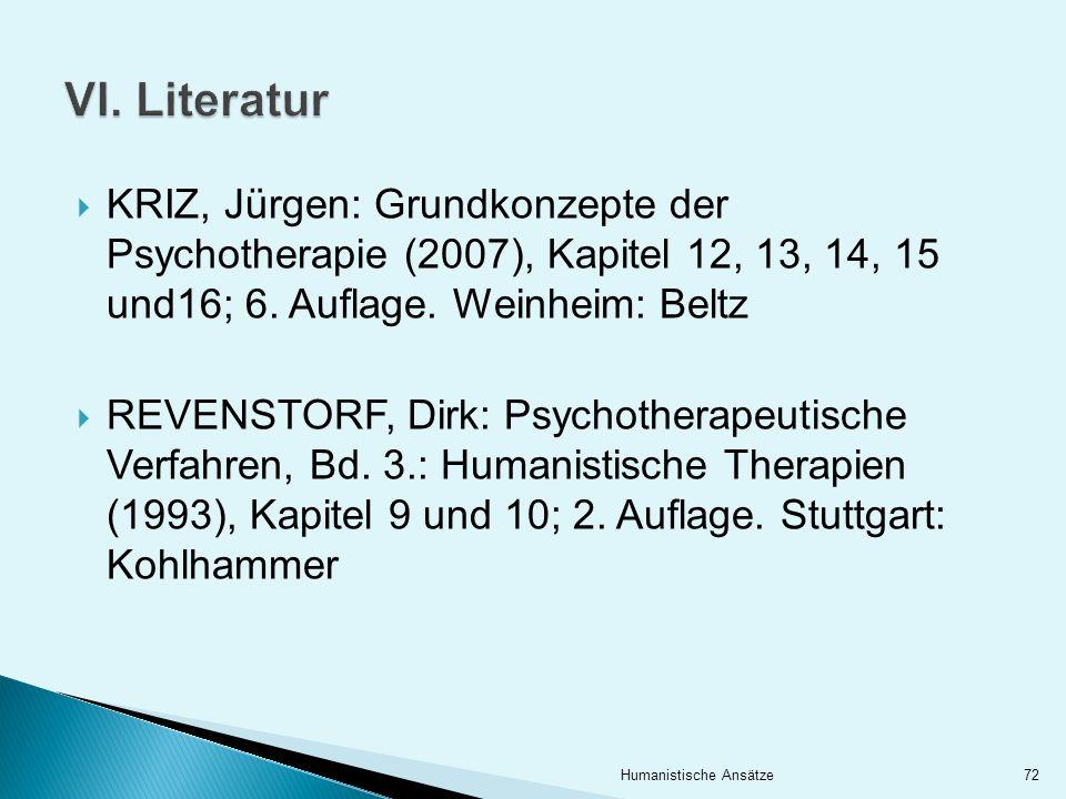 VI. Literatur KRIZ, Jürgen: Grundkonzepte der Psychotherapie (2007), Kapitel 12, 13, 14, 15 und16; 6. Auflage. Weinheim: Beltz.