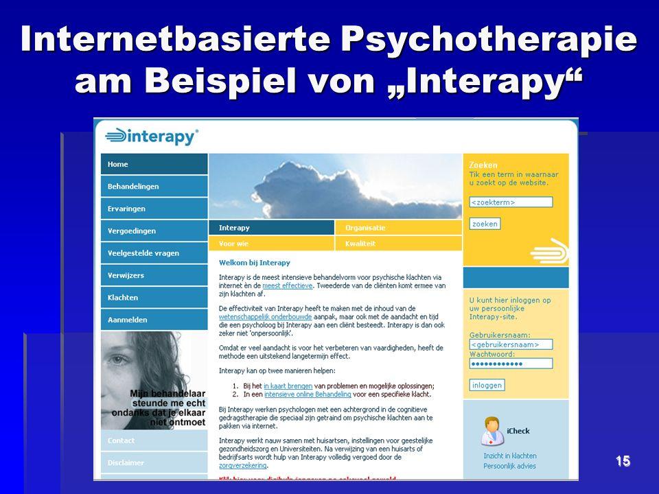 """Internetbasierte Psychotherapie am Beispiel von """"Interapy"""