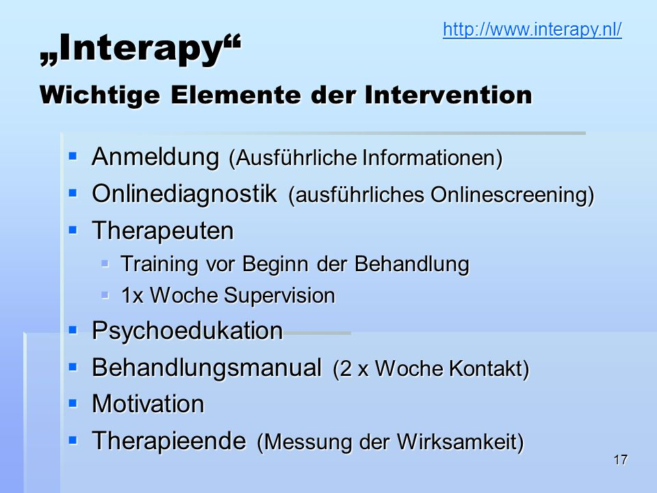 """Interapy Wichtige Elemente der Intervention"