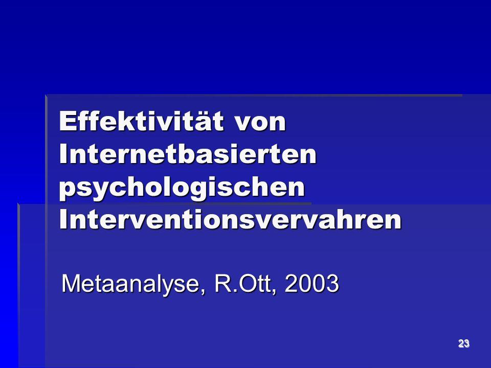 Effektivität von Internetbasierten psychologischen Interventionsvervahren