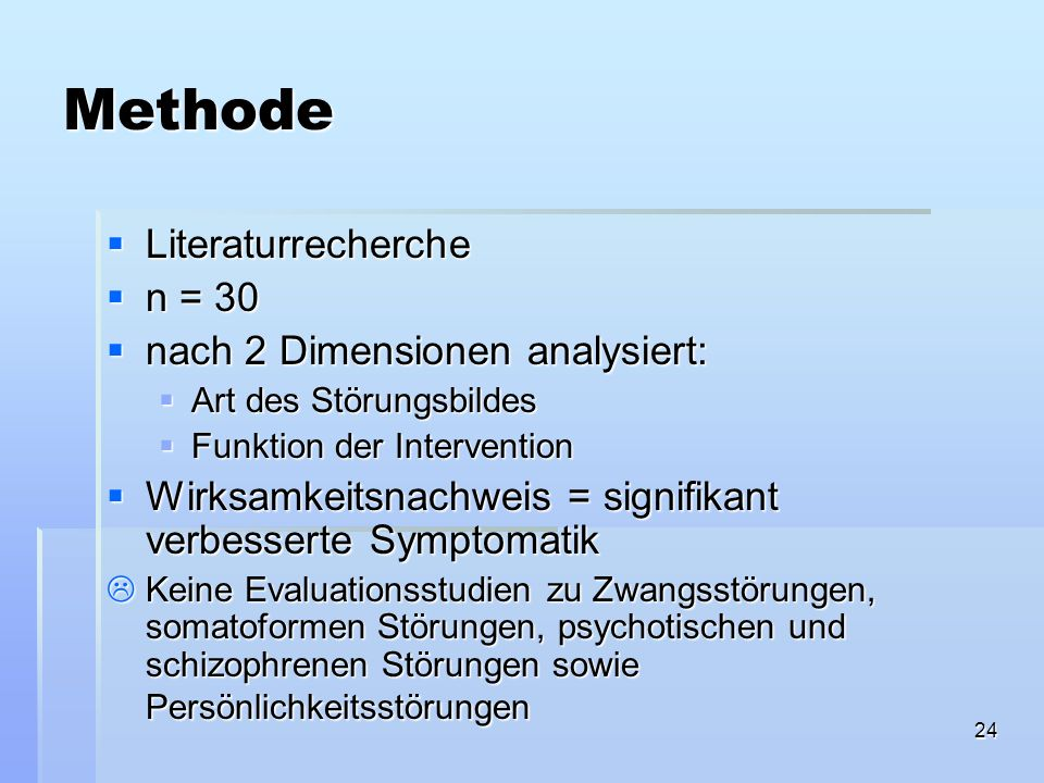 Methode Literaturrecherche n = 30 nach 2 Dimensionen analysiert: