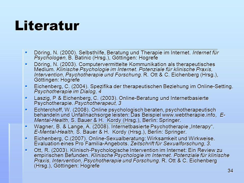 LiteraturDöring, N. (2000). Selbsthilfe, Beratung und Therapie im Internet. Internet für Psychologen, B. Batinic (Hrsg.), Göttingen: Hogrefe.