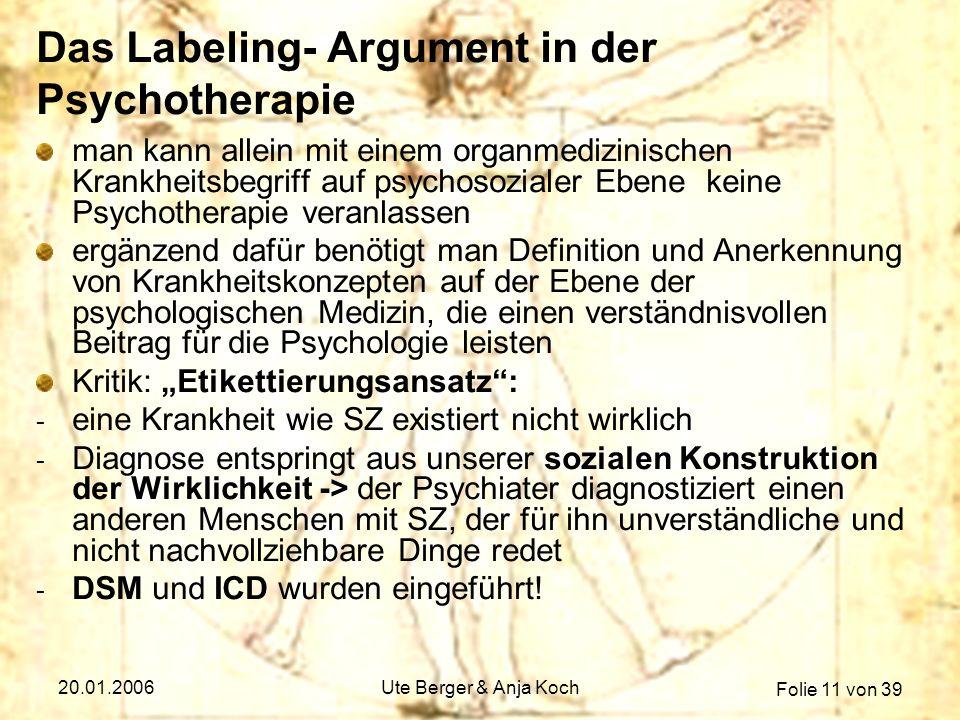Das Labeling- Argument in der Psychotherapie