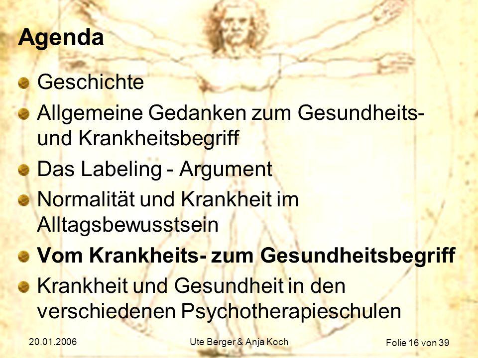 Agenda Geschichte. Allgemeine Gedanken zum Gesundheits- und Krankheitsbegriff. Das Labeling - Argument.