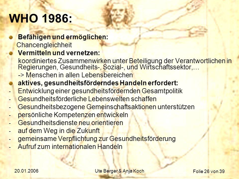WHO 1986: Befähigen und ermöglichen: Chancengleichheit