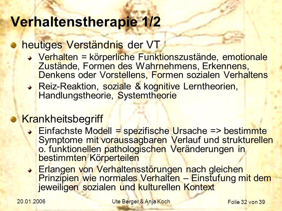 Verhaltenstherapie 1/2 heutiges Verständnis der VT Krankheitsbegriff