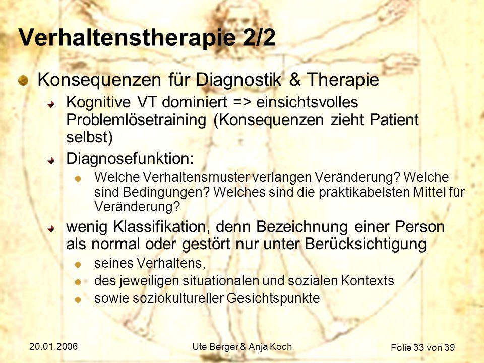 Verhaltenstherapie 2/2 Konsequenzen für Diagnostik & Therapie