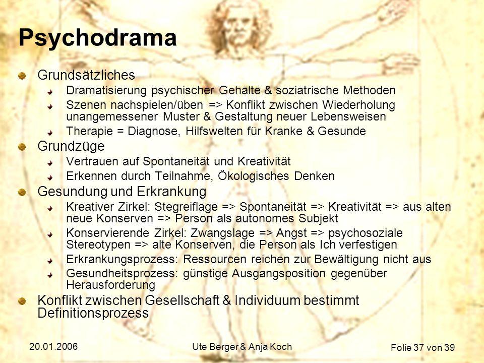 Psychodrama Grundsätzliches Grundzüge Gesundung und Erkrankung