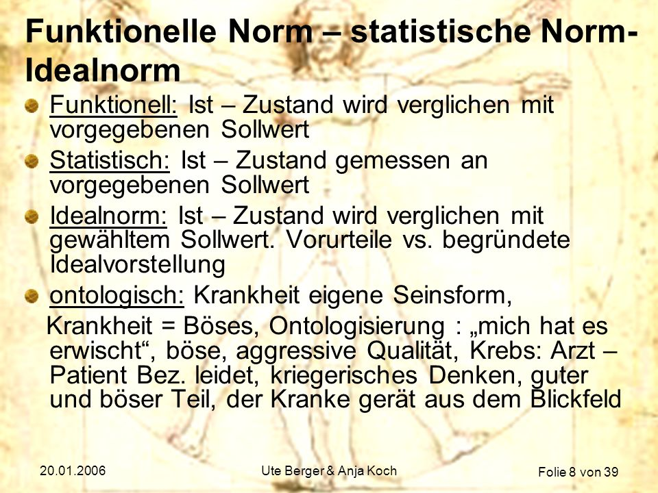 Funktionelle Norm – statistische Norm- Idealnorm