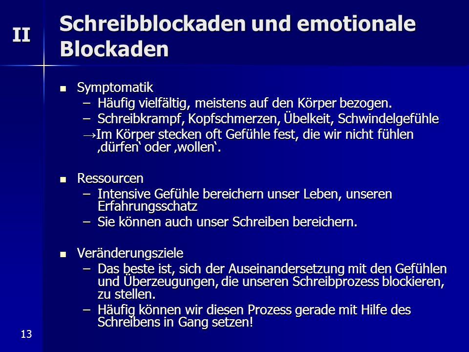 Schreibblockaden und emotionale Blockaden