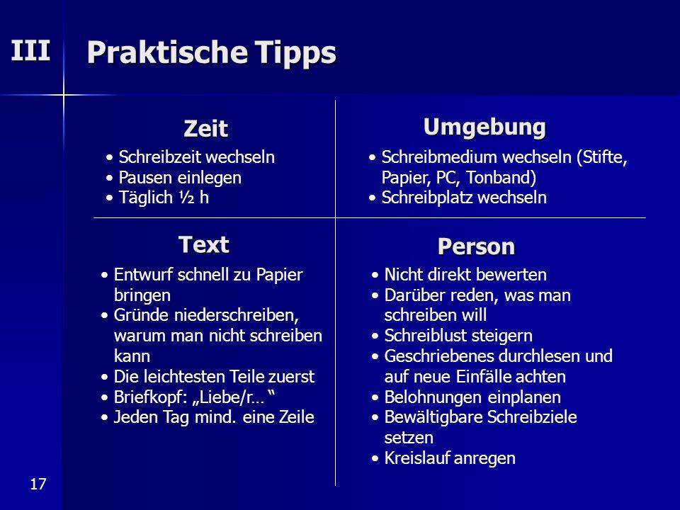 Praktische Tipps III Zeit Umgebung Text Person Schreibzeit wechseln