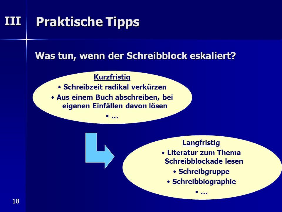 Praktische Tipps III Was tun, wenn der Schreibblock eskaliert