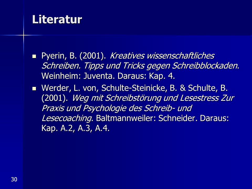 Literatur Pyerin, B. (2001). Kreatives wissenschaftliches Schreiben. Tipps und Tricks gegen Schreibblockaden. Weinheim: Juventa. Daraus: Kap. 4.