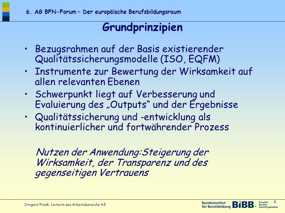 Grundprinzipien Bezugsrahmen auf der Basis existierender Qualitätssicherungsmodelle (ISO, EQFM)
