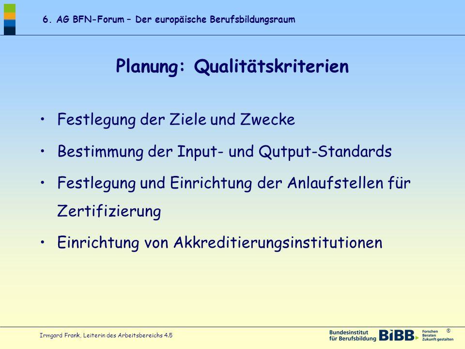 Planung: Qualitätskriterien