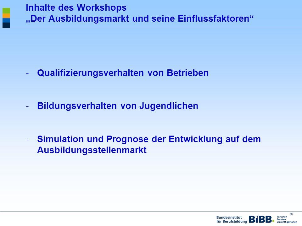 """Inhalte des Workshops """"Der Ausbildungsmarkt und seine Einflussfaktoren"""