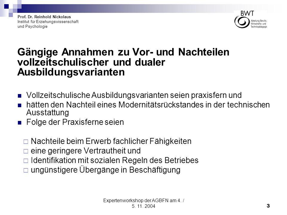 Expertenworkshop der AGBFN am 4. / 5. 11. 2004