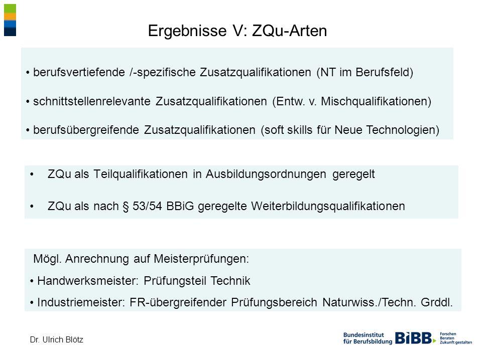 Ergebnisse V: ZQu-Arten