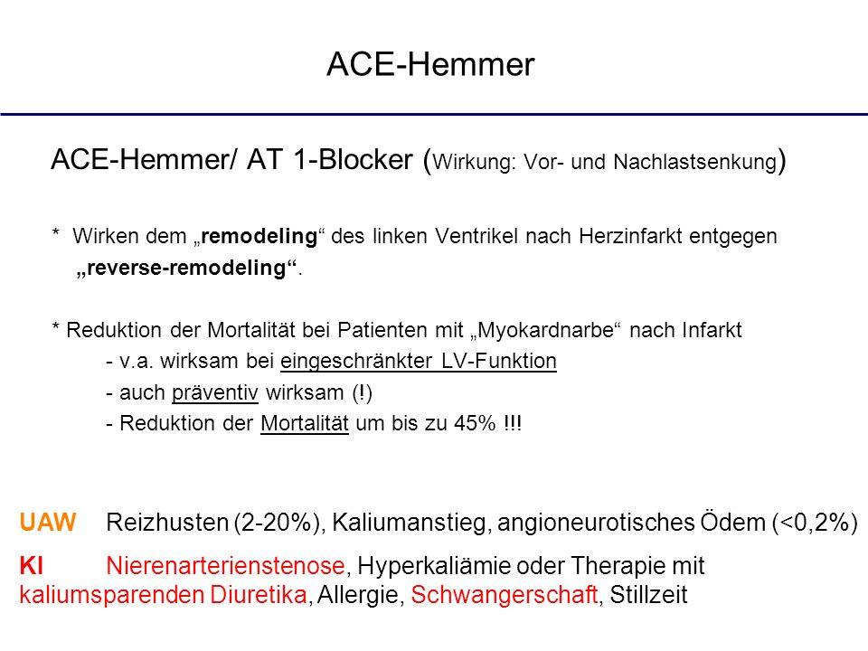 """ACE-HemmerACE-Hemmer/ AT 1-Blocker (Wirkung: Vor- und Nachlastsenkung) * Wirken dem """"remodeling des linken Ventrikel nach Herzinfarkt entgegen."""