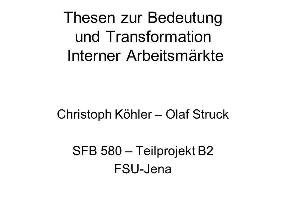 Thesen zur Bedeutung und Transformation Interner Arbeitsmärkte