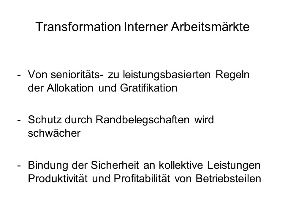 Transformation Interner Arbeitsmärkte