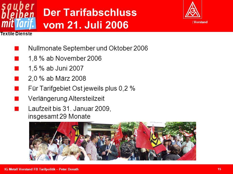 Der Tarifabschluss vom 21. Juli 2006